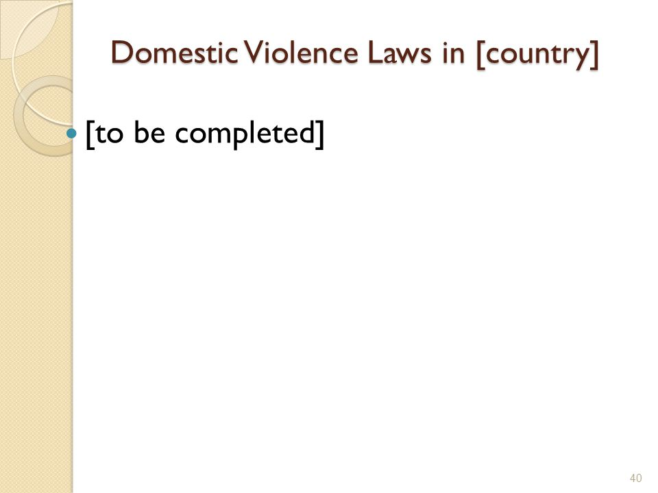 Domestic Violence Laws in [country]